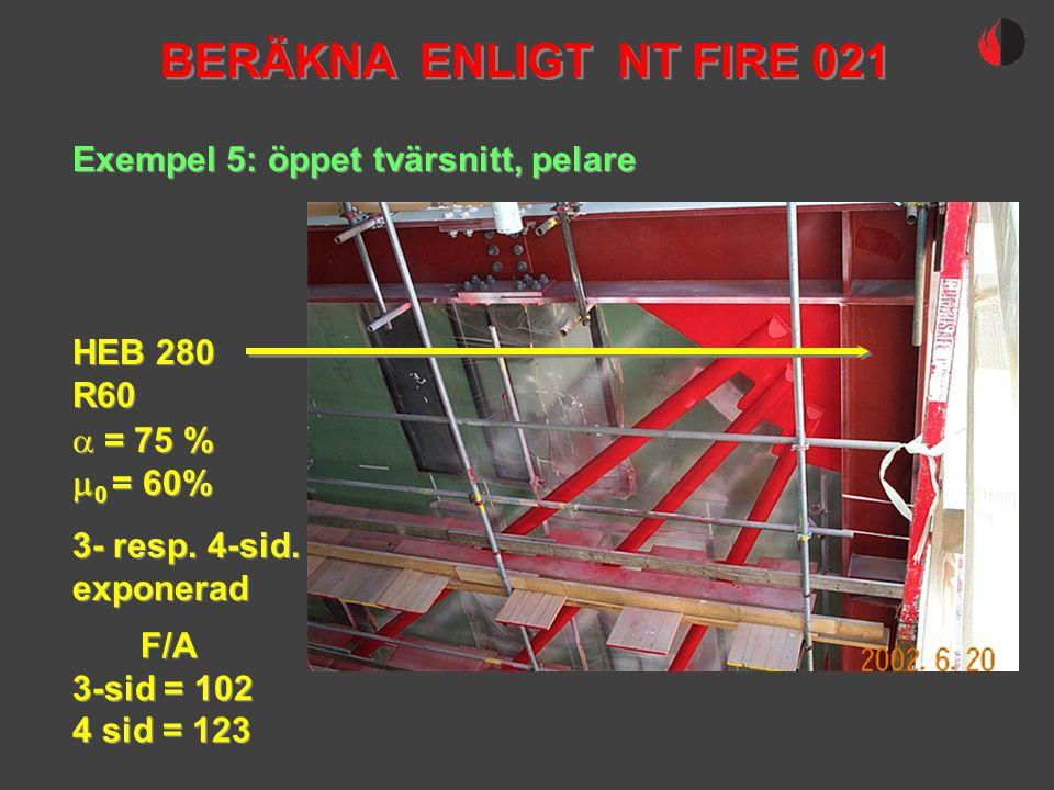 BERÄKNA ENLIGT NT FIRE 021 Exempel 5: öppet tvärsnitt, pelare HEB 280