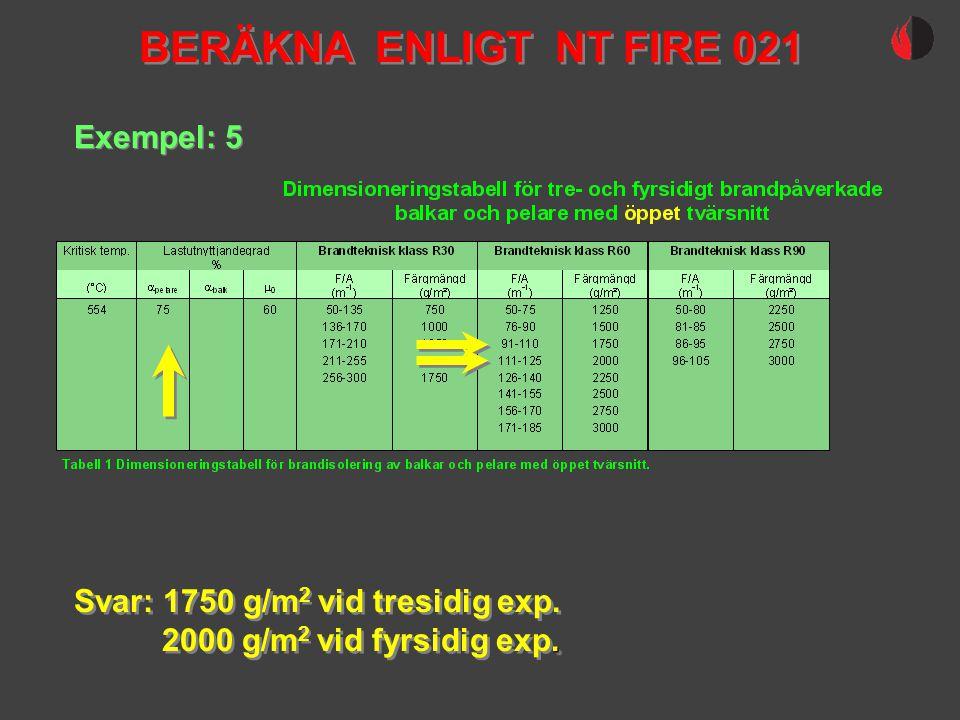 BERÄKNA ENLIGT NT FIRE 021 Exempel: 5