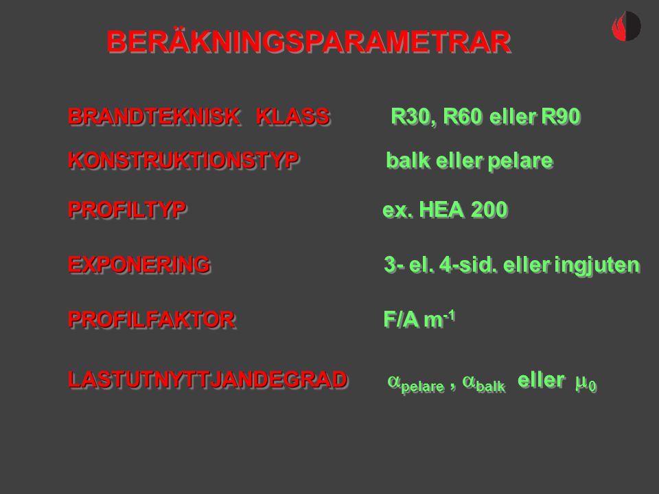 BERÄKNINGSPARAMETRAR