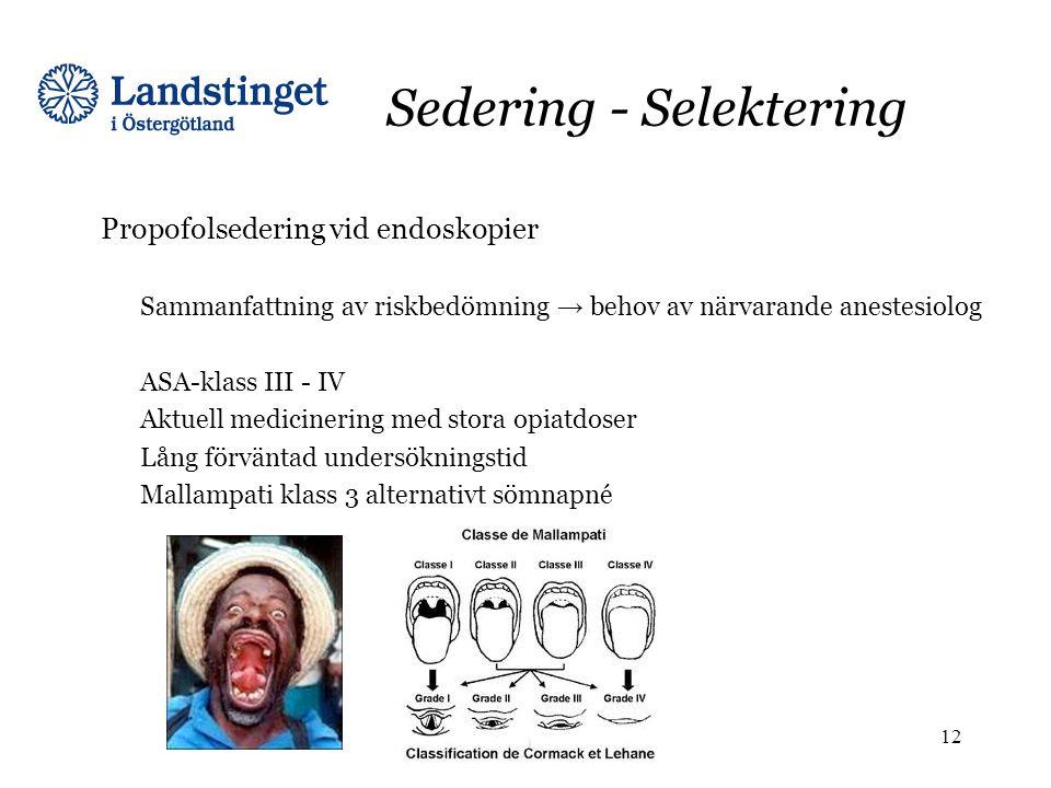 Sedering - Selektering