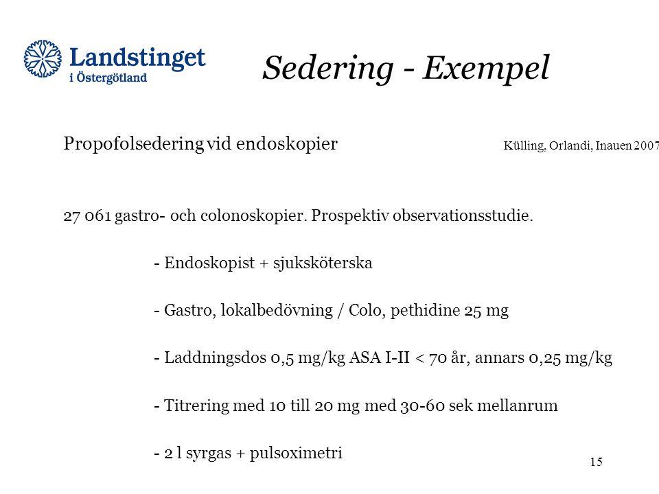 Sedering - Exempel Propofolsedering vid endoskopier Külling, Orlandi, Inauen 2007. 27 061 gastro- och colonoskopier. Prospektiv observationsstudie.