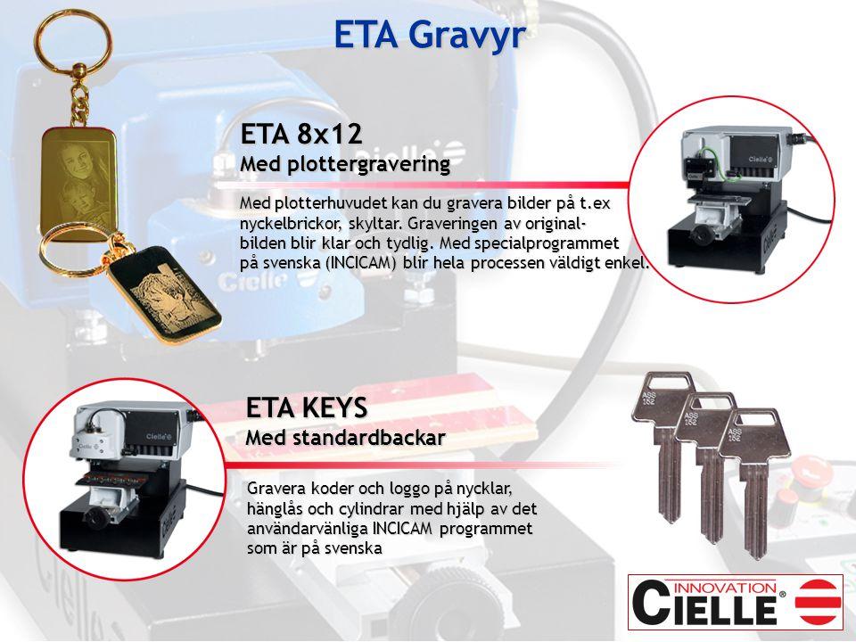 ETA Gravyr ETA 8x12 ETA KEYS Med plottergravering Med standardbackar