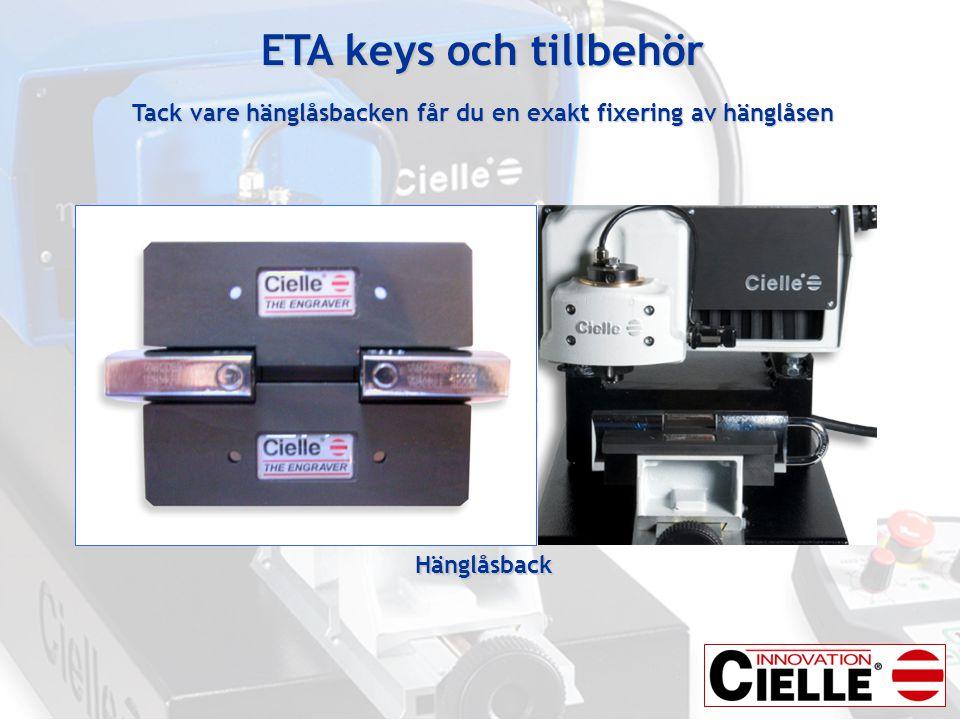 ETA keys och tillbehör Tack vare hänglåsbacken får du en exakt fixering av hänglåsen
