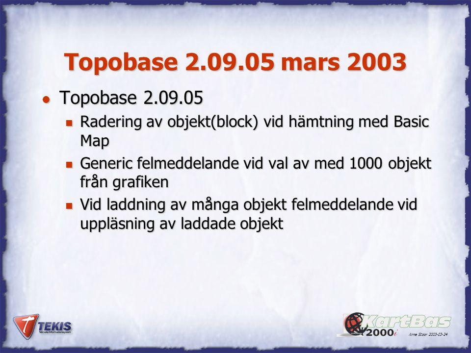 Topobase 2.09.05 mars 2003 Topobase 2.09.05