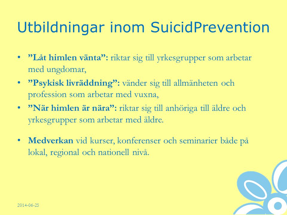 Utbildningar inom SuicidPrevention