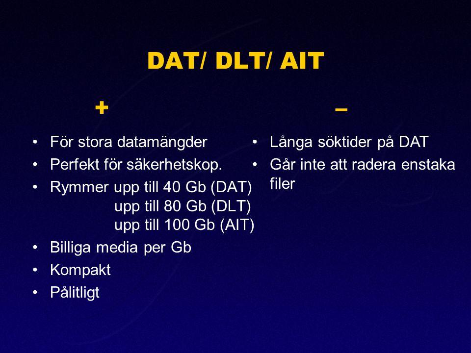 DAT/ DLT/ AIT + – För stora datamängder Perfekt för säkerhetskop.
