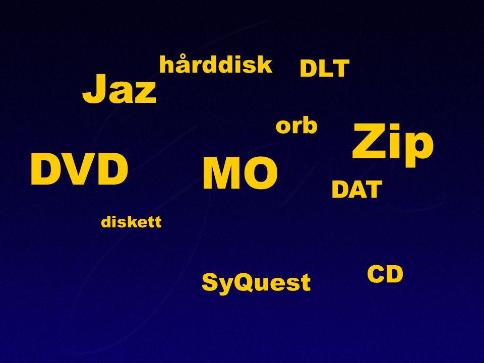 Zip DVD MO Jaz hårddisk DLT orb DAT CD SyQuest diskett