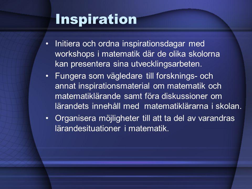 Inspiration Initiera och ordna inspirationsdagar med workshops i matematik där de olika skolorna kan presentera sina utvecklingsarbeten.