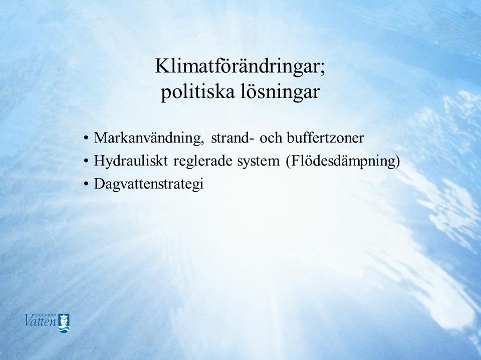 Klimatförändringar; politiska lösningar