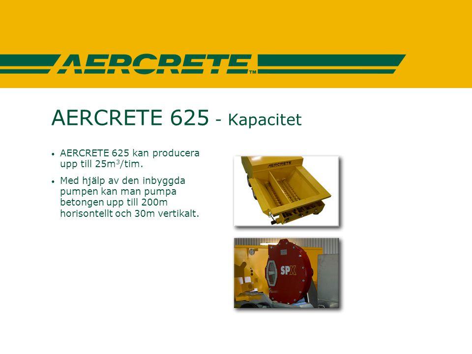 AERCRETE 625 - Kapacitet AERCRETE 625 kan producera upp till 25m3/tim.