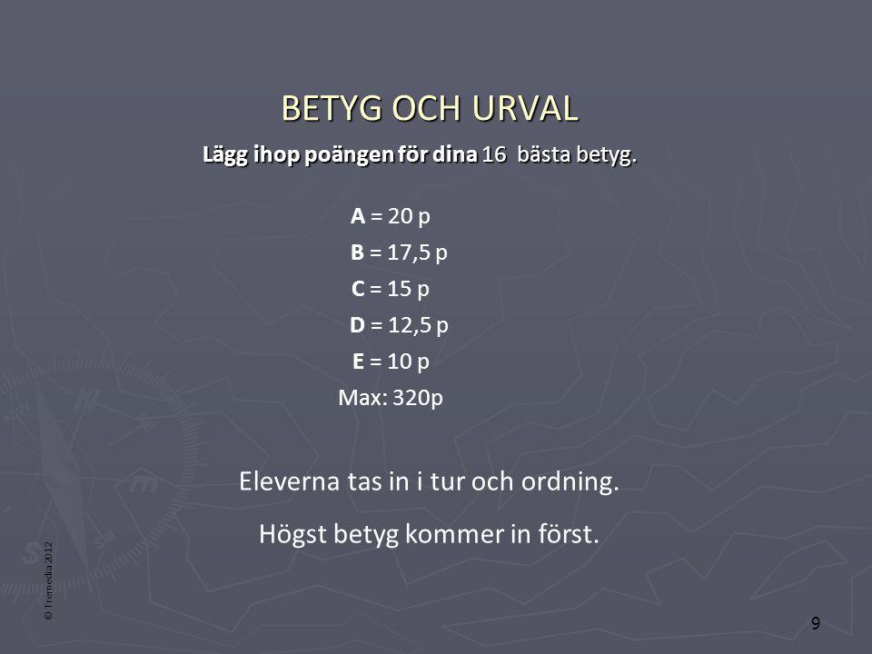BETYG OCH URVAL Lägg ihop poängen för dina 16 bästa betyg. A = 20 p. B = 17,5 p. C = 15 p. D = 12,5 p.
