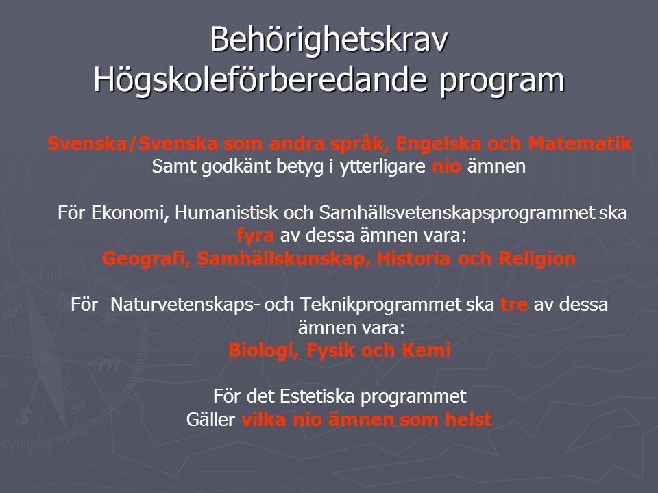 Behörighetskrav Högskoleförberedande program