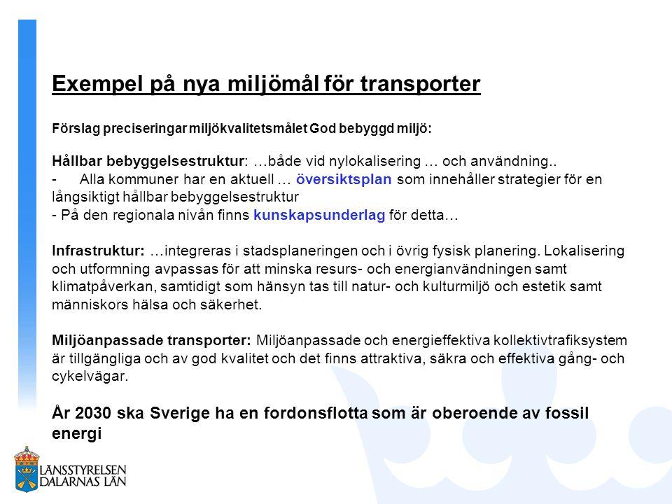 Exempel på nya miljömål för transporter