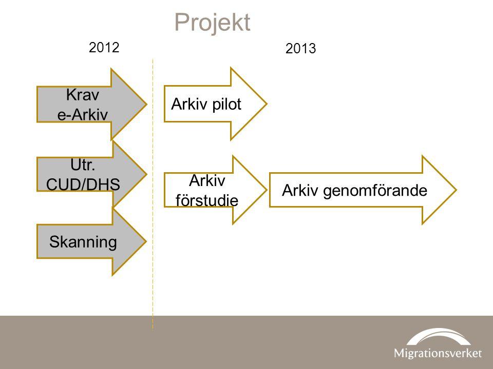 Projekt Krav Arkiv pilot e-Arkiv Utr. CUD/DHS Arkiv förstudie