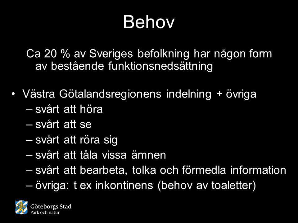 Behov Ca 20 % av Sveriges befolkning har någon form av bestående funktionsnedsättning. Västra Götalandsregionens indelning + övriga.