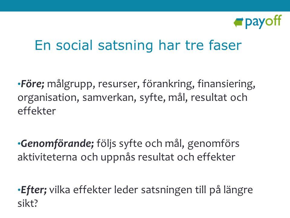 En social satsning har tre faser