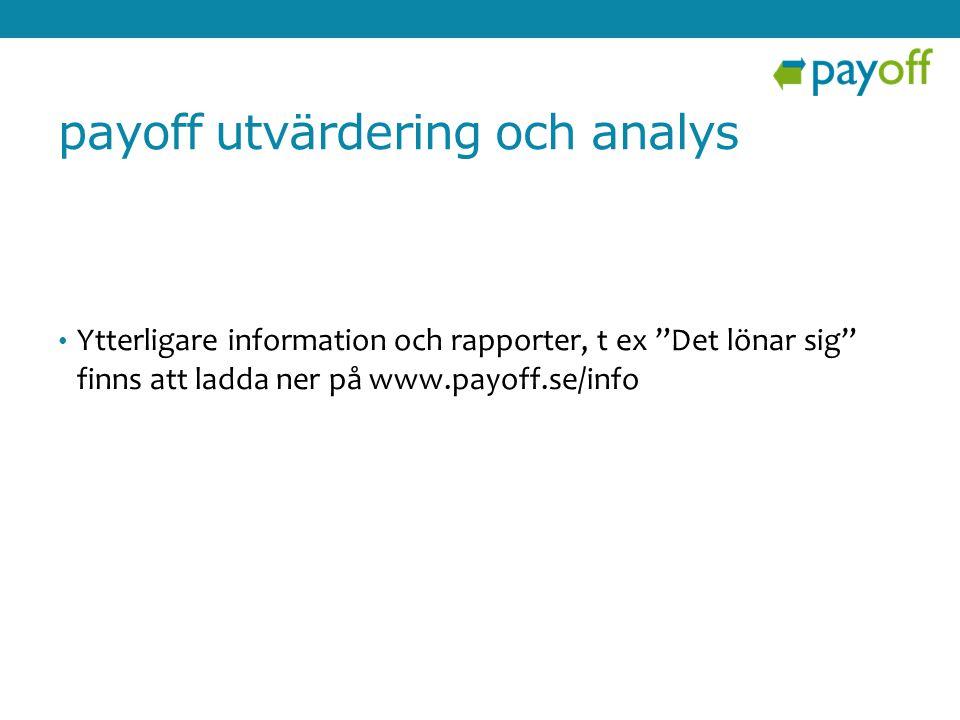 payoff utvärdering och analys