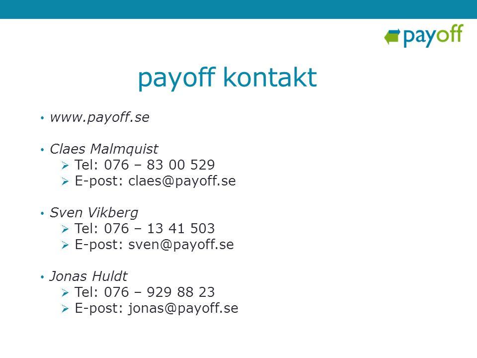 payoff kontakt www.payoff.se Claes Malmquist Tel: 076 – 83 00 529