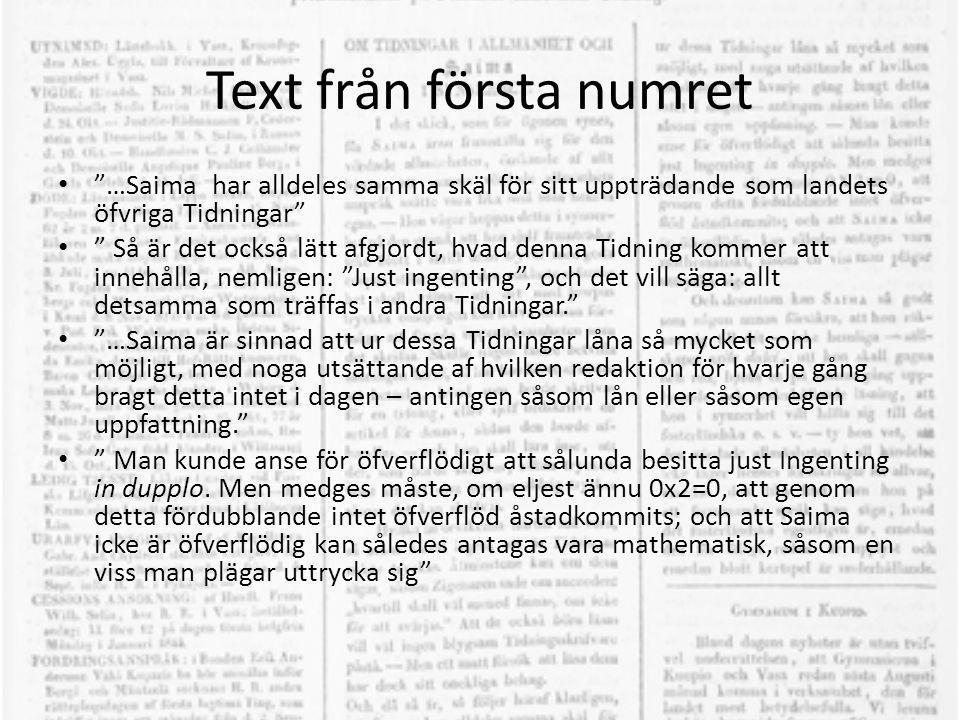 Text från första numret