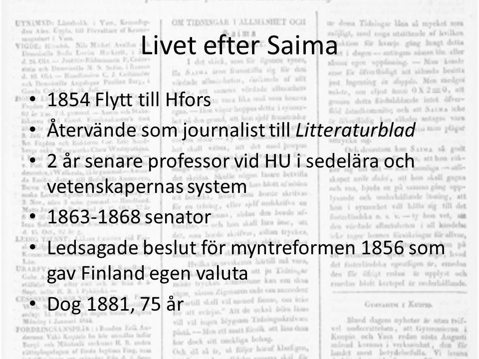 Livet efter Saima 1854 Flytt till Hfors