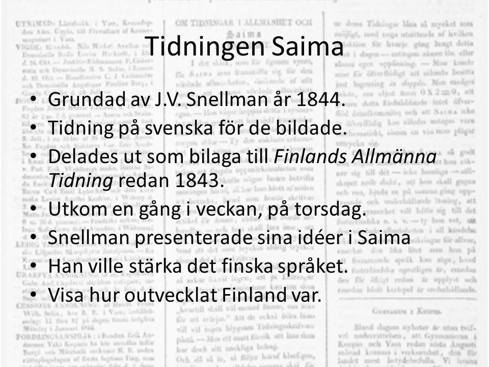 Tidningen Saima Grundad av J.V. Snellman år 1844.
