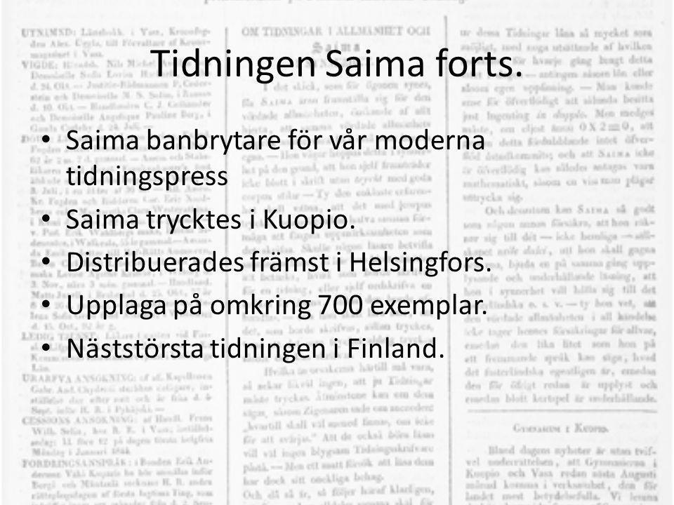 Tidningen Saima forts. Saima banbrytare för vår moderna tidningspress