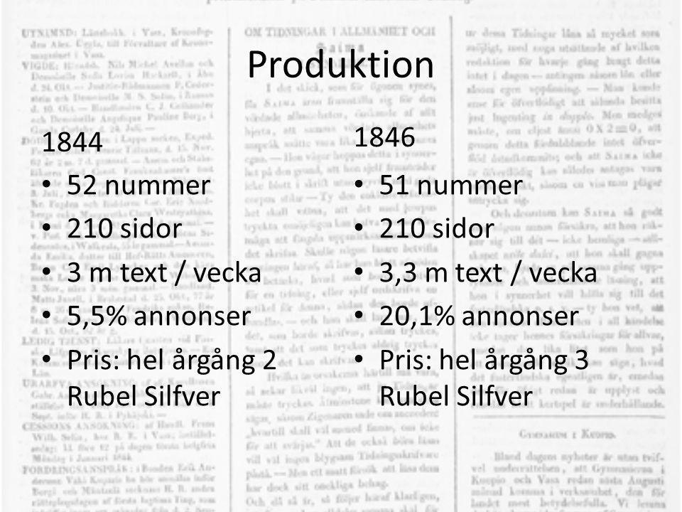 Produktion 1846 1844 52 nummer 210 sidor 3 m text / vecka