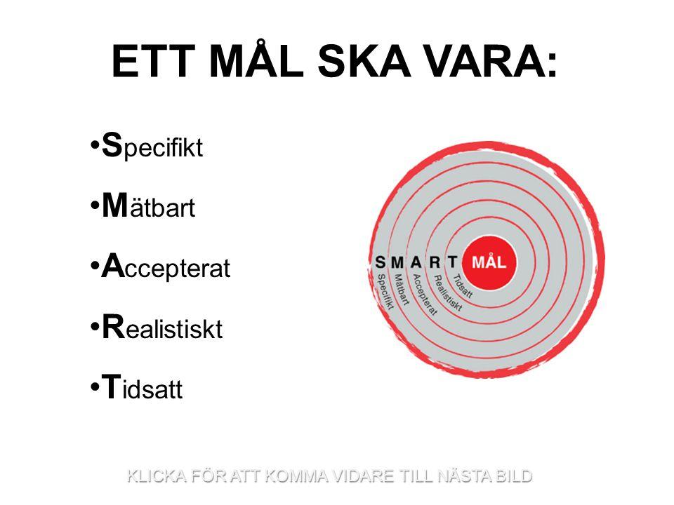 ETT MÅL SKA VARA: Specifikt Mätbart Accepterat Realistiskt Tidsatt