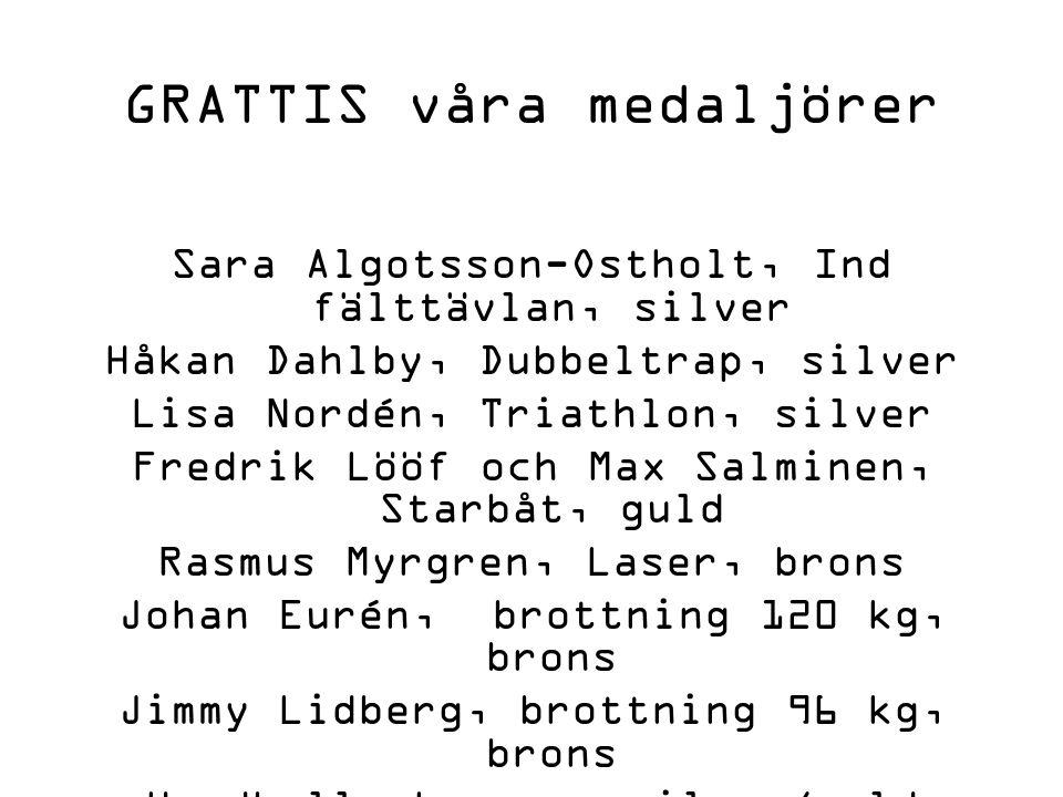 GRATTIS våra medaljörer
