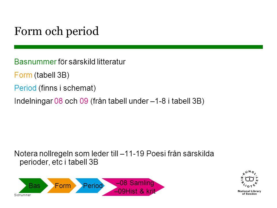 Form och period Basnummer för särskild litteratur Form (tabell 3B)