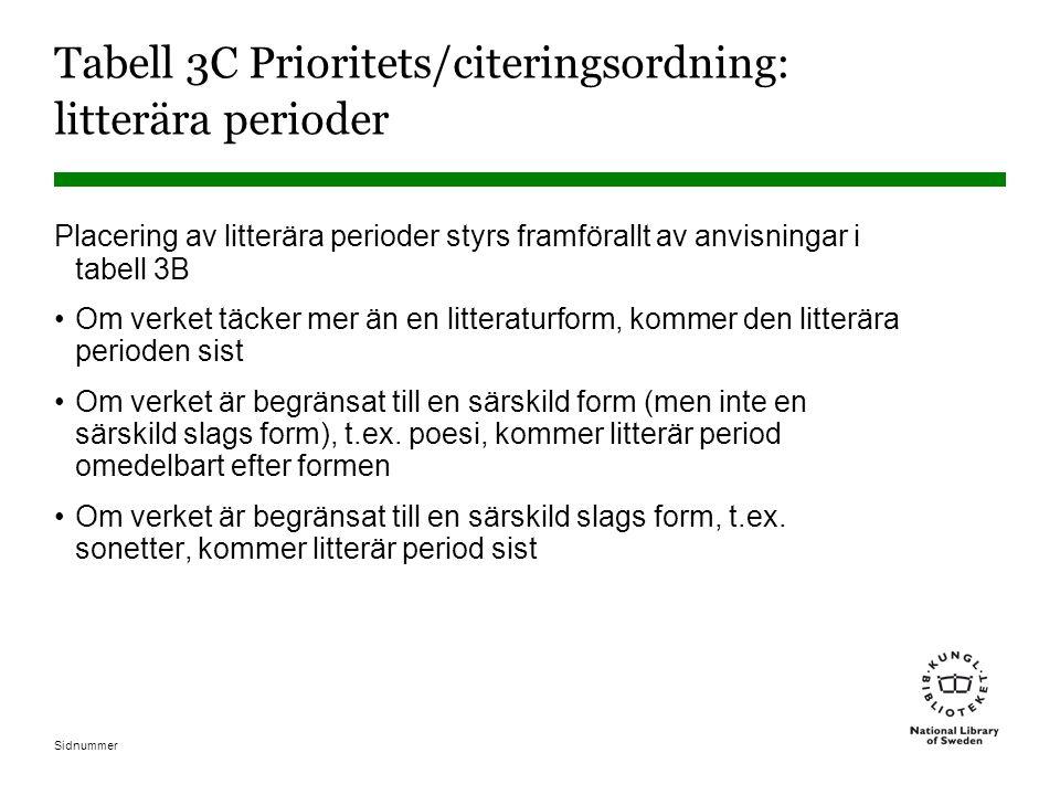 Tabell 3C Prioritets/citeringsordning: litterära perioder
