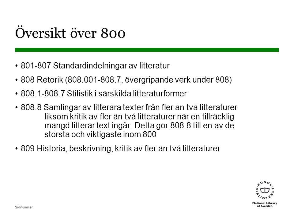 Översikt över 800 801-807 Standardindelningar av litteratur