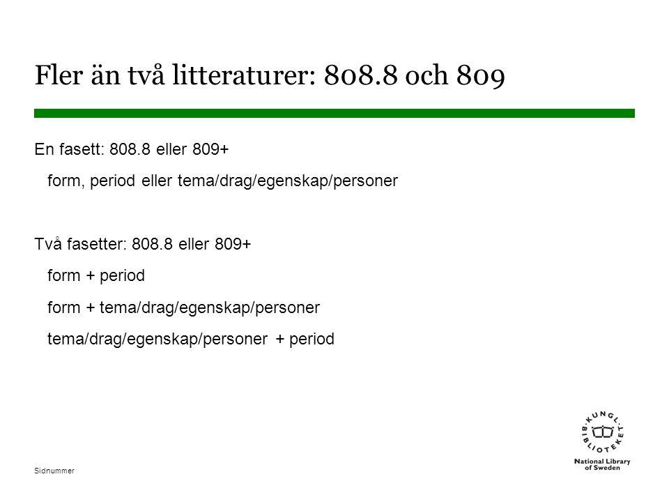 Fler än två litteraturer: 808.8 och 809