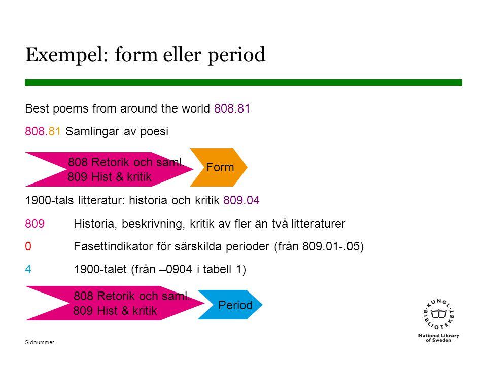 Exempel: form eller period