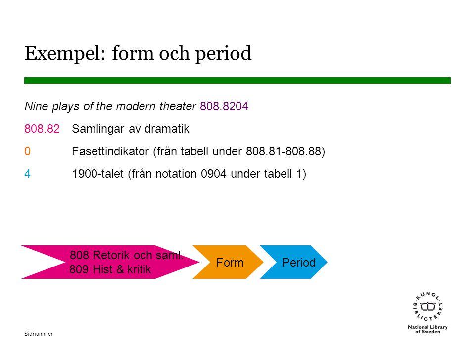 Exempel: form och period