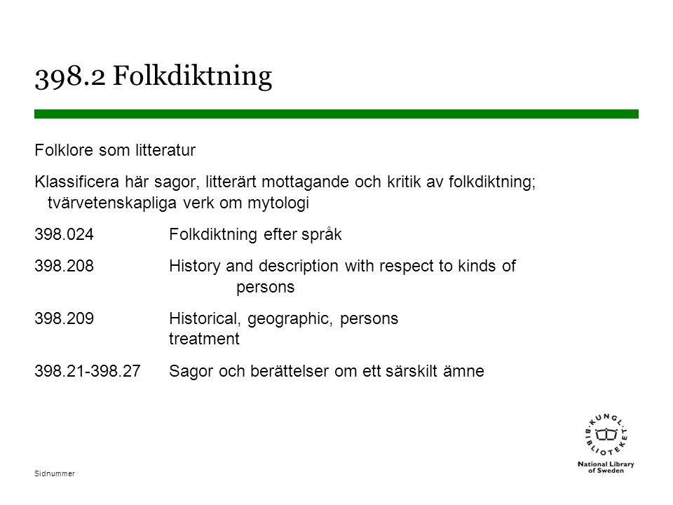 398.2 Folkdiktning Folklore som litteratur