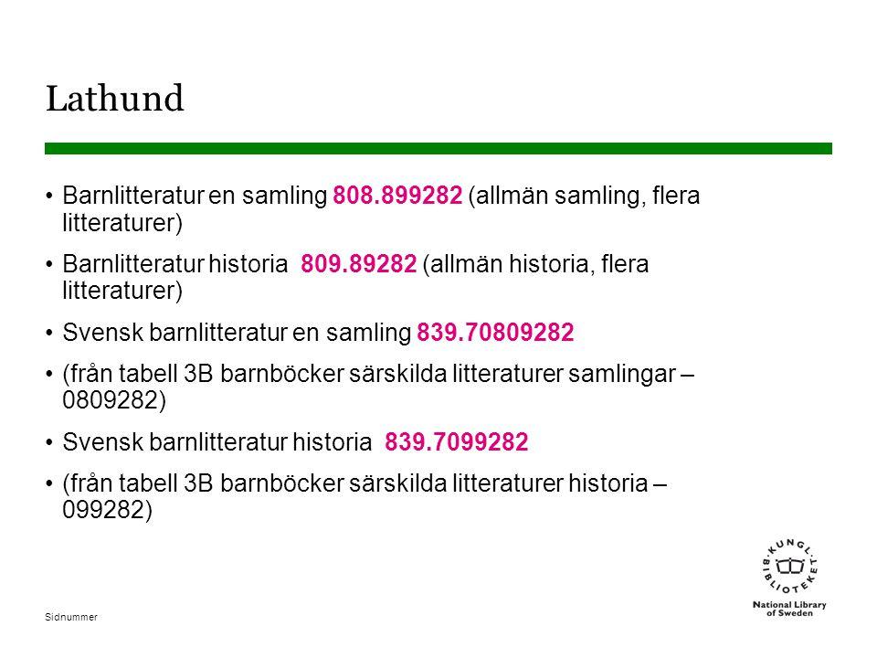 Lathund Barnlitteratur en samling 808.899282 (allmän samling, flera litteraturer)