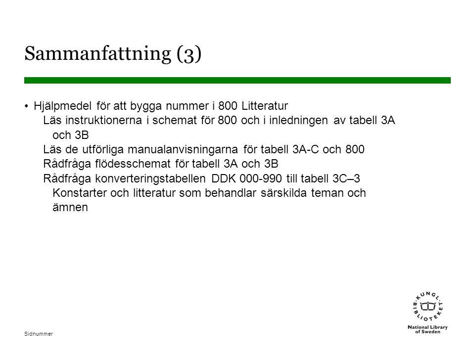 Sammanfattning (3) Hjälpmedel för att bygga nummer i 800 Litteratur