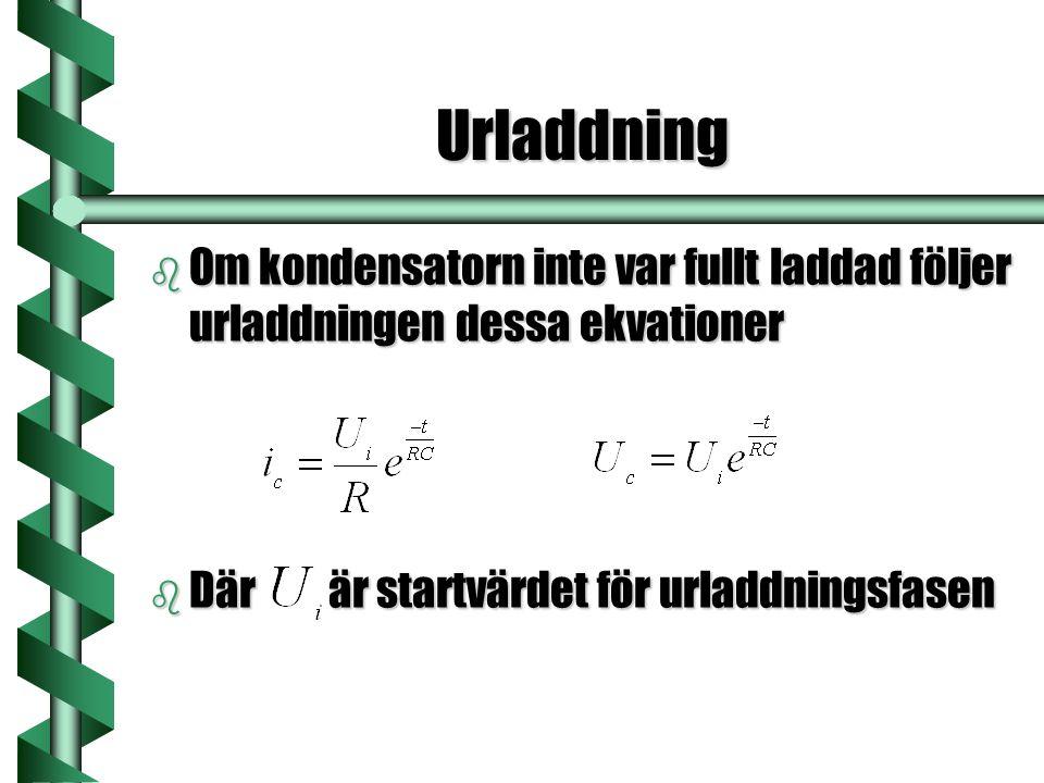Urladdning Om kondensatorn inte var fullt laddad följer urladdningen dessa ekvationer.