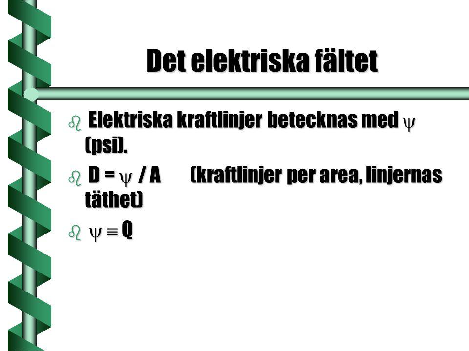Det elektriska fältet Elektriska kraftlinjer betecknas med y (psi).