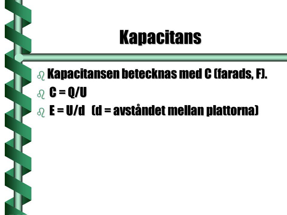 Kapacitans Kapacitansen betecknas med C (farads, F). C = Q/U