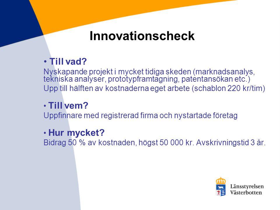 Innovationscheck Till vad