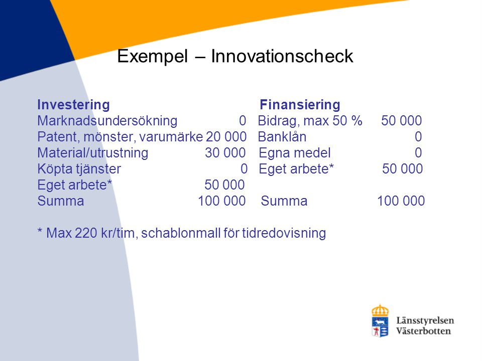 Exempel – Innovationscheck