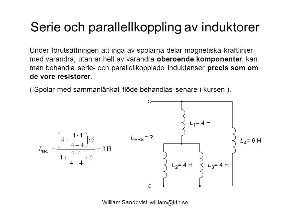 Serie och parallellkoppling av induktorer
