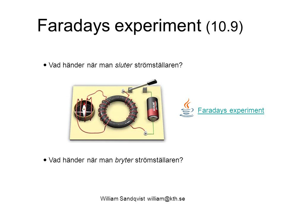 Faradays experiment (10.9)