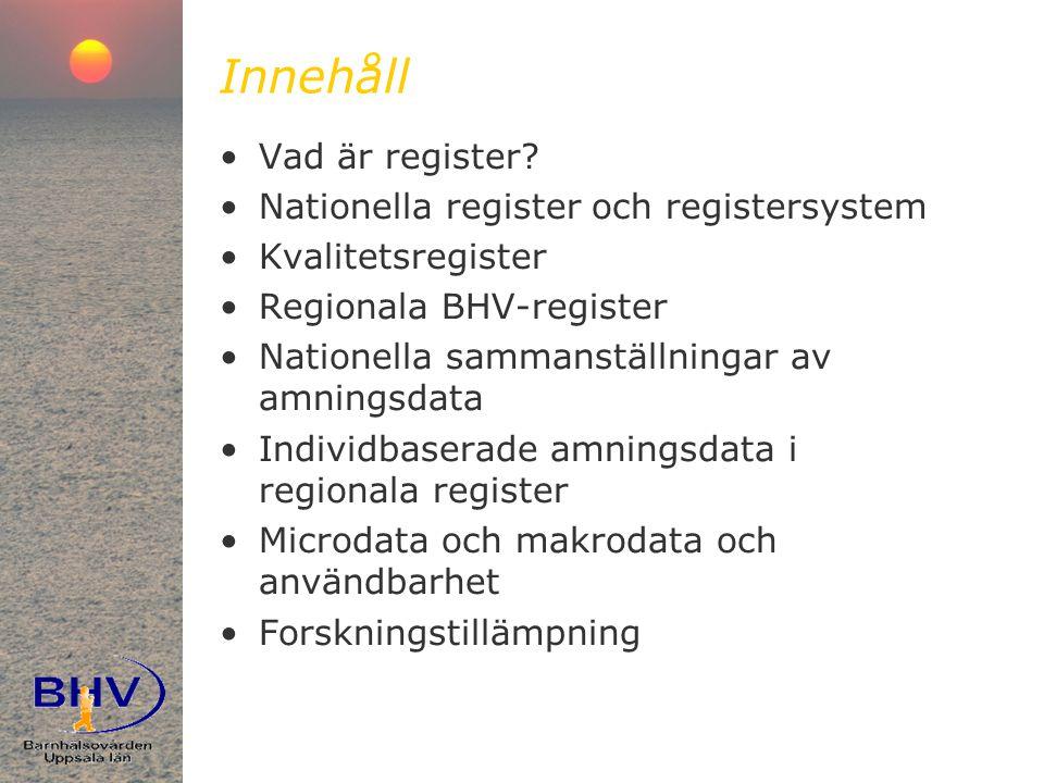Innehåll Vad är register Nationella register och registersystem