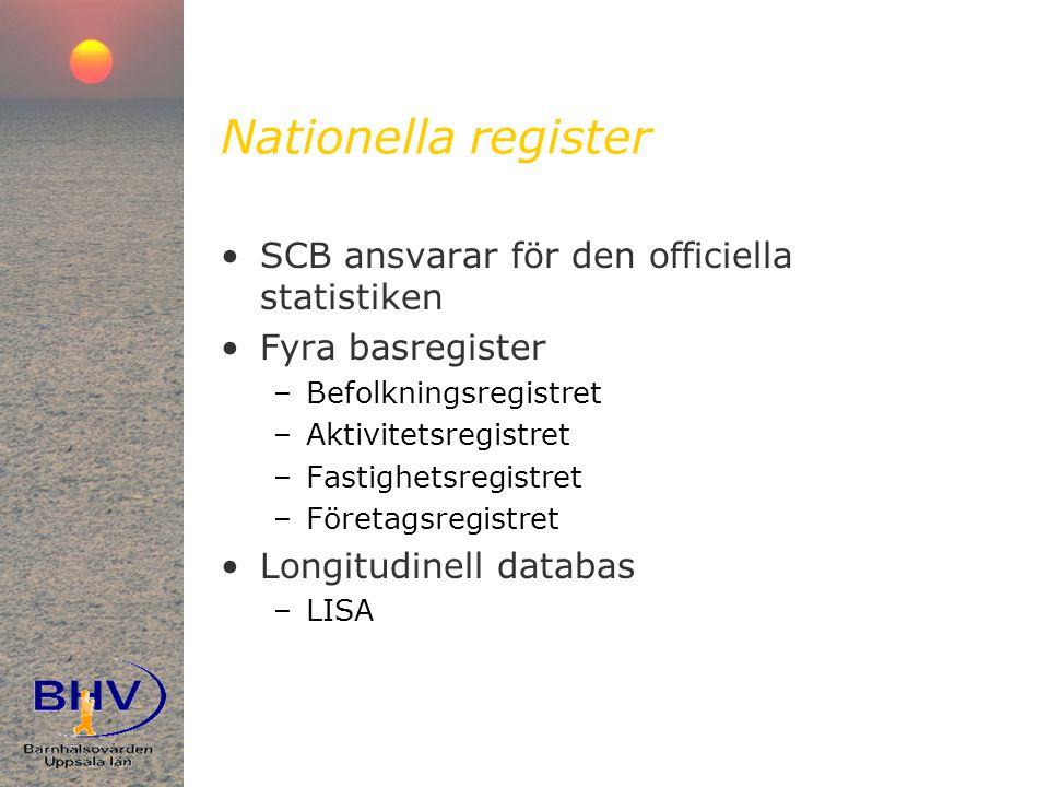 Nationella register SCB ansvarar för den officiella statistiken