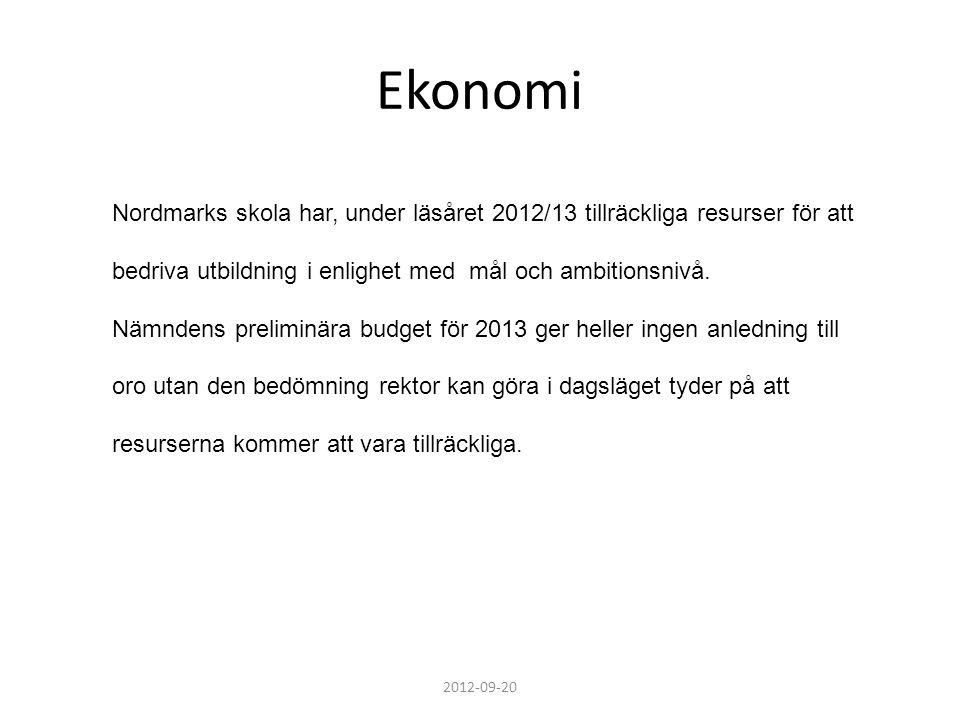 Ekonomi Nordmarks skola har, under läsåret 2012/13 tillräckliga resurser för att. bedriva utbildning i enlighet med mål och ambitionsnivå.