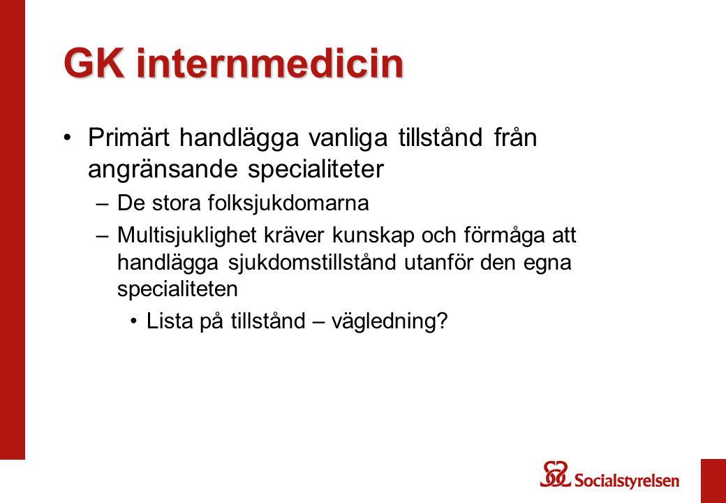 GK internmedicin Primärt handlägga vanliga tillstånd från angränsande specialiteter. De stora folksjukdomarna.