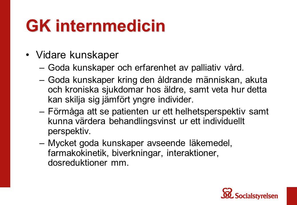 GK internmedicin Vidare kunskaper